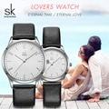 Shengke Кожаные Парные часы черные женские Мужские Простые Модные кварцевые наручные часы Мужские Женские часы подарок SK 9003 2019 Новинка