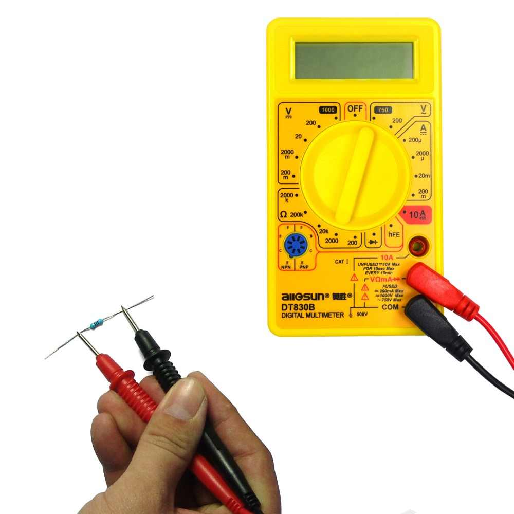 LCD Digital Multimeter Volt Amp Ohm Tester Meter and Universal Probe Tester Leads 600V 1000V