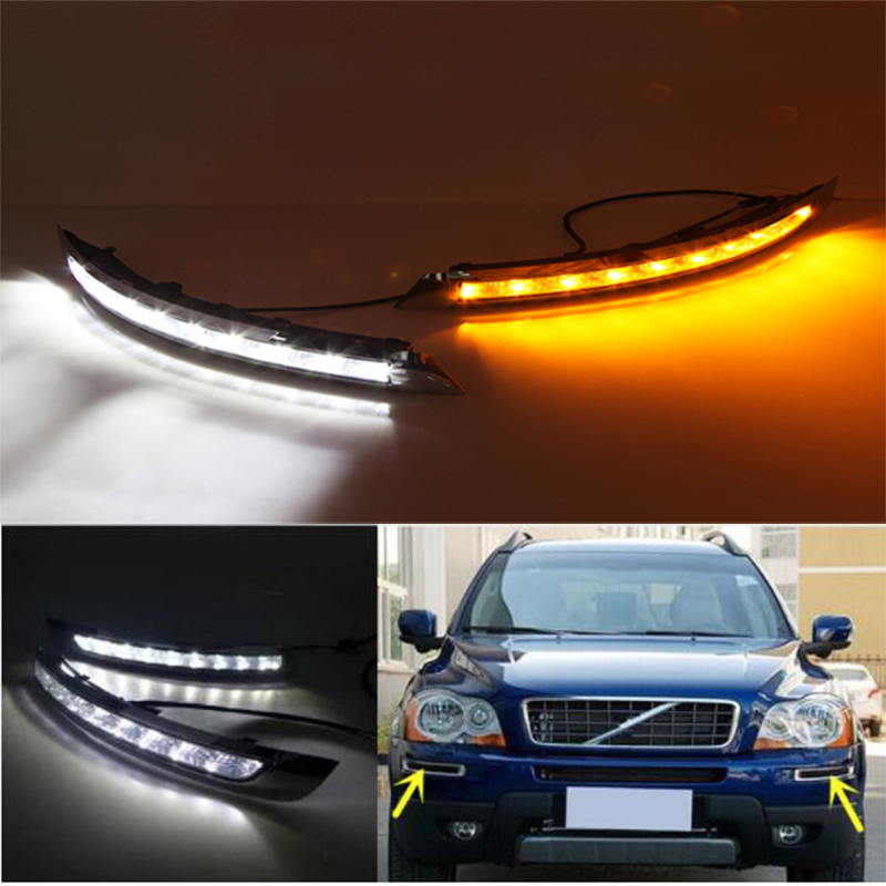 LED Daytime Running Light for VOLVO XC90 2007 2008 2009 2010 2011 2012 2013 LED DRL bummper lamp with yellow turning lights led drl daytime running light for subaru forester 2008 2009 2010 2011 2012 white and blue turning lights