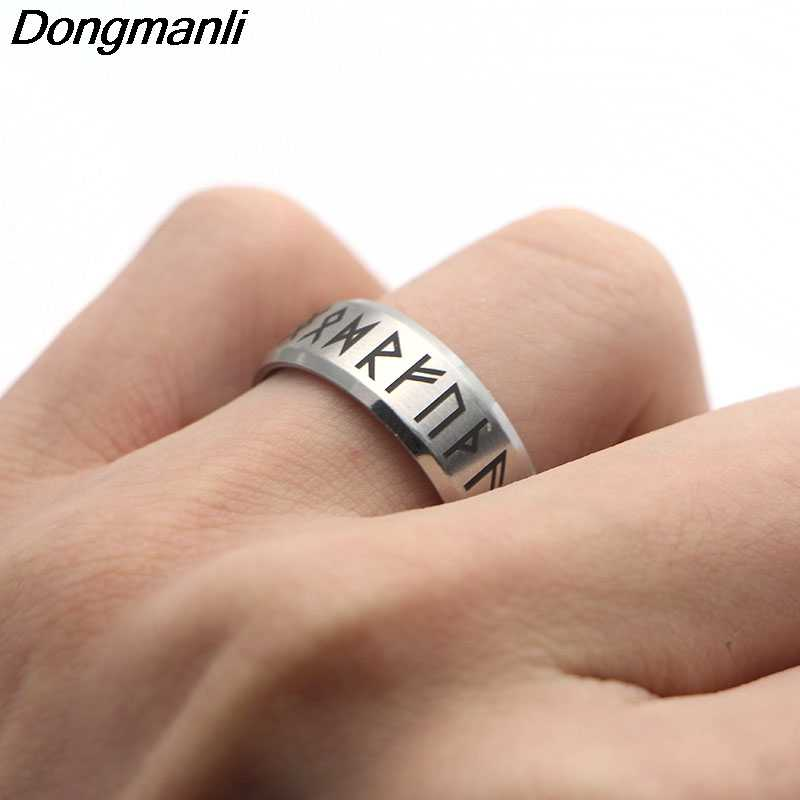 P1808 Dongmanli Wholesale 10pcs/lot Antique Retro Male Jewelry Viking Ring Female Black Amulet Vintage Norse Rune Rings