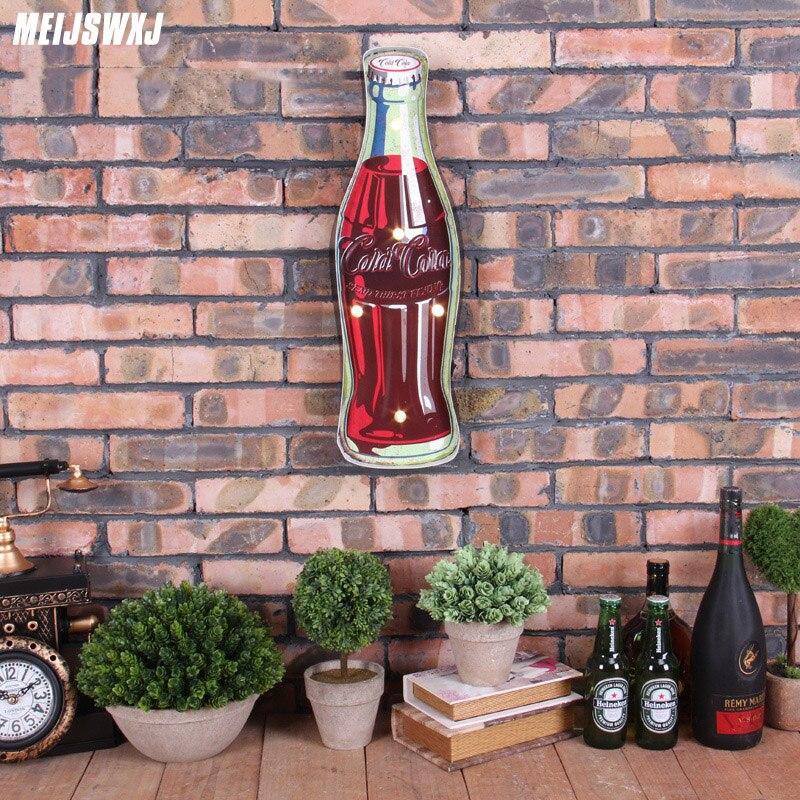 LED néon signe Coke Vintage décor à la maison Placa Decorativa Cerveja Bar café Shabby chic Placas décoration de métal mur Art signe