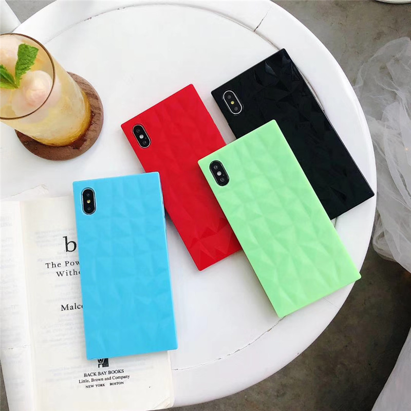 Glossy Soft TPU <font><b>Silicon</b></font> <font><b>Cases</b></font> for <font><b>Iphone</b></font> Xs/Xs Max 6 6S 7 8 Plus <font><b>X</b></font> Square <font><b>3D</b></font> Rhombus Texture Cover for <font><b>Iphone</b></font> Xr 7Plus <font><b>Case</b></font> Capa image