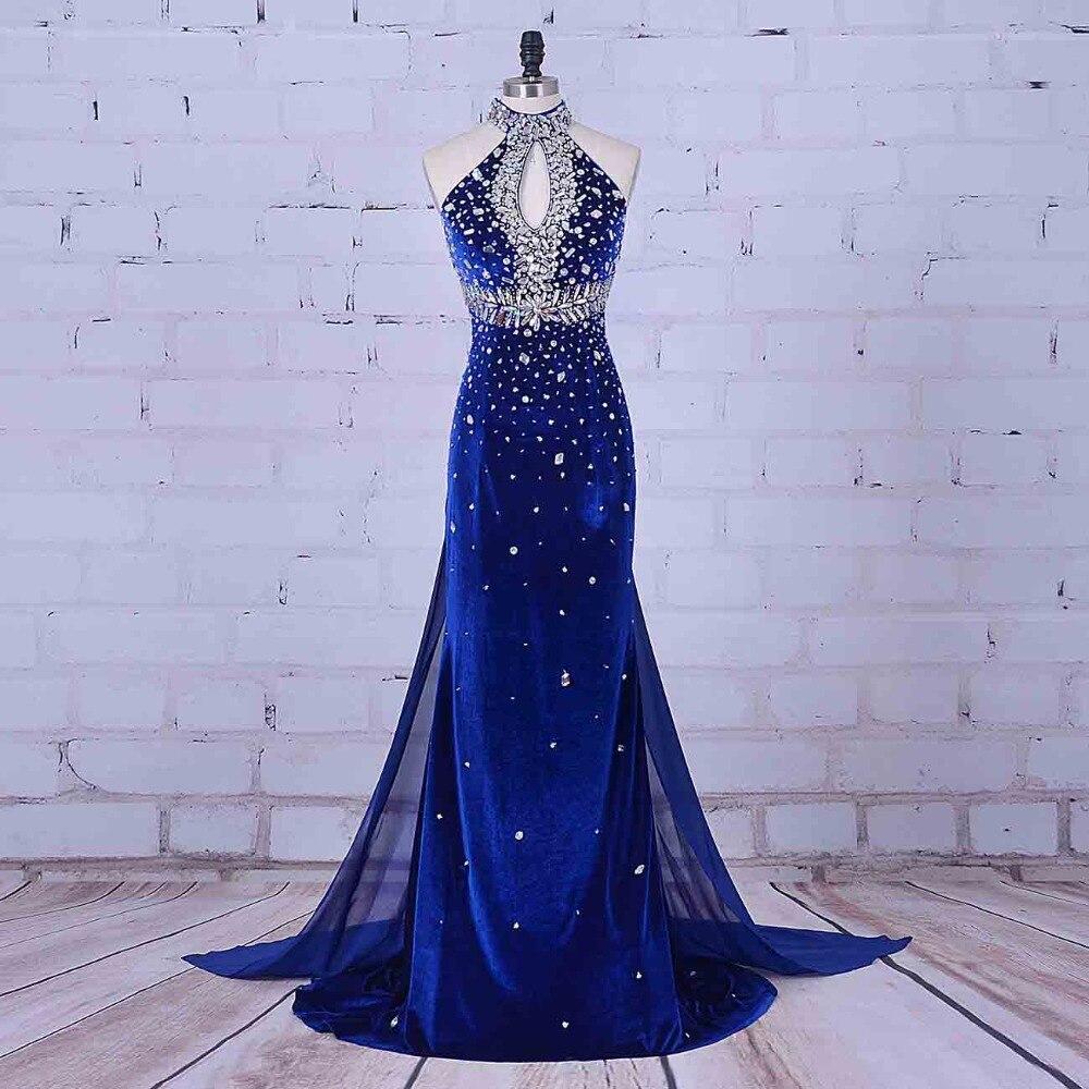Women Formal Dresses Imported Evening Dress Halter Royal Blue Prom Dress Vestidos Para Formatura Luxury Crystal