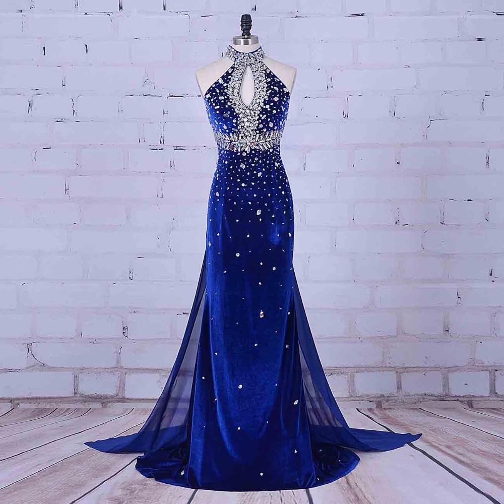 Women Formal   Dresses   Imported   Evening     Dress   Halter Royal Blue Prom   Dress   Vestidos Para Formatura Luxury Crystal   Evening     Dress