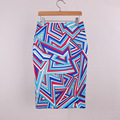 Neophil Geometric Striped Printed Pencil Midi Skirts Womens Sexy 2016 Summer Plus Size Office Back Slit Bodycon Saias S1607011