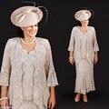 Mãe do Laço do vintage Dos Vestidos de Noiva Com Jaqueta de Champanhe Moda Mangas Vestido De Madrinha Para Casamentos Vestido De Madrinha