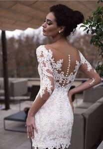 Image 4 - LORIE 2019 Beach Wedding Dress Scoop Appliqued Detachable Train Wedding Gown Half Sleeves Boho Short skirt Bride Dress