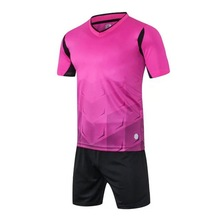 Hot Sale Solid short sleeve two pieces football tracksuit suit breathable plus size  soccer clothing