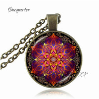 Women Men Necklace Orange Purple Blue Mandala Flower Necklace Pendant Spiritual Om Yoga Pendant Glass Dome