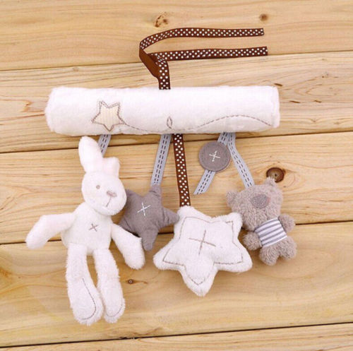 Cradle Toy Hanging Rattle Baby Plush Toy Rabbit Musical Mobile Products Baby Stroller Accessories Toys cute lovely baby bed around baby stroller hanging dolls bell rattle mobile musical plush infant toys gifts xmas toy for kids