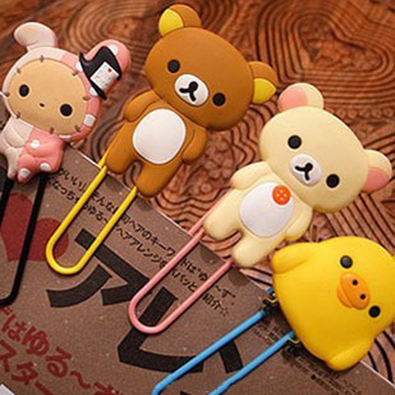 Free Shipping Kawaii Rilakkuma Series Bookmark Clip/Memo Clip/Paper Clip/Bookmark,Novelty Gift Retail KCS Office Accessories