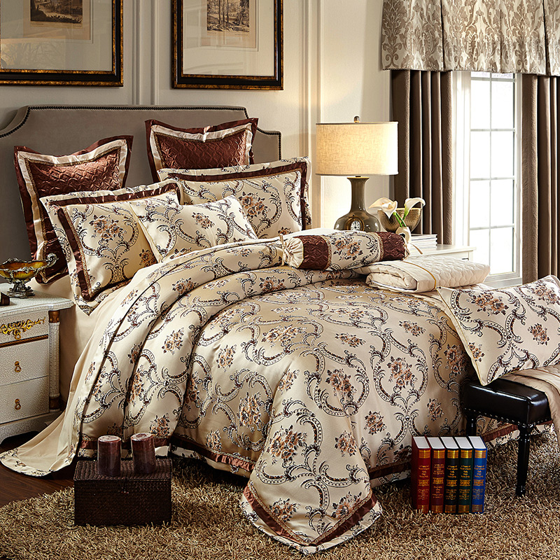 Cotton Stain Jacquard Luxury Wedding Bedding set 4 6Pcs Kits Duvet cover Thick Cotton Bedspread set
