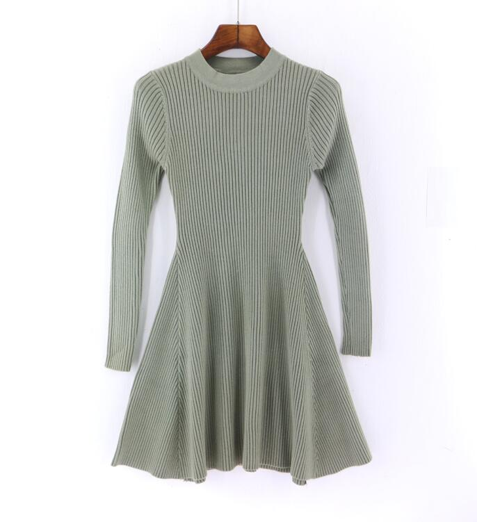2019 Autumn Winter New Women Sweater Dress Long Sleeve A-Line Mini Dress Thick knitting Short Slim Dresses