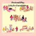 2017 Hot Sale Wooden Miniature Dollhouse Furniture Toys Pretend Play Toys Set Bedroom Kitchen Dinner Room Bathroom Living Room