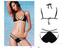 bathing separate pure black hot spring swimsuit lacing female sexy ladies swimwear Sports bra Beach suit mosaic bikini fission