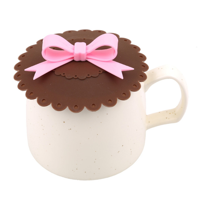 Kawaii Bowknot Anti-Dust Silicone Lids For Tea Cup Cover Coffee Caneca Xicara Tea Cup Vasos De Plastico Suction Seal Cap Gifts