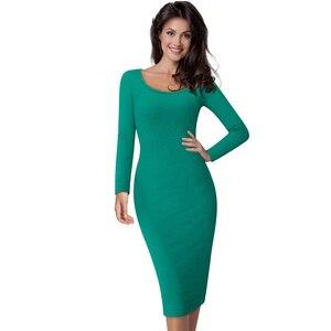 Image 4 - Güzel sonsuza kadar rahat iş Vintage orta buzağı elbise şık kısa ofis bayan katı Scoop boyun tam kollu kılıf kalem elbise b19