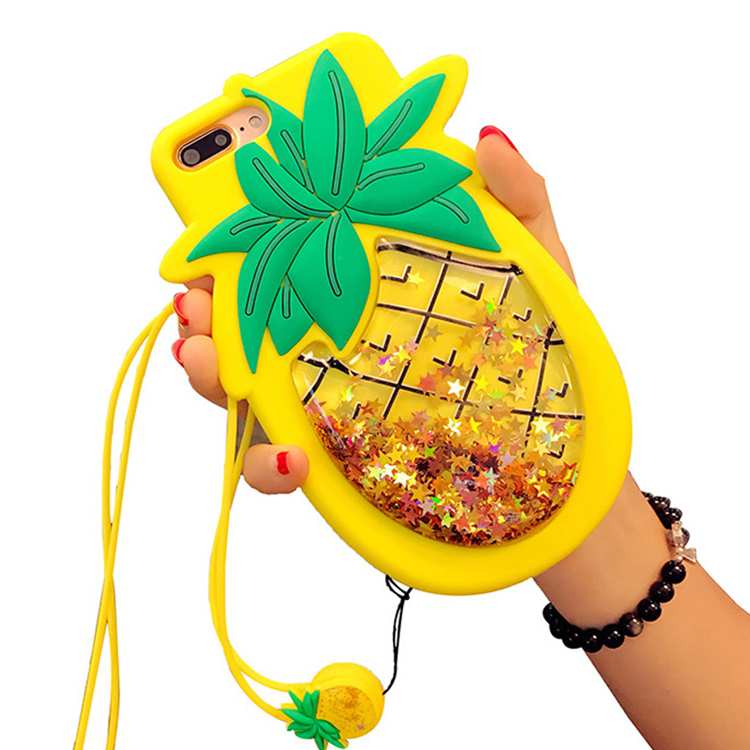 MOOSHION Pineapple Fashion Liquid Quicksand Case For iPhone X 6 6S 7 8 Plus 3D Star Glitter Soft Silicone Squishy Phone Cases