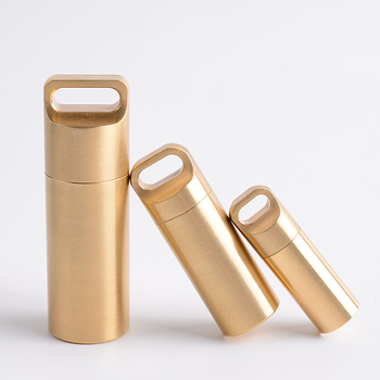 EDC Capsule Seal bottle  Pure Copper Waterproof Pot  Survival pills Bottle Brass Outdoor camping Mini Storage First Aid Kit 2