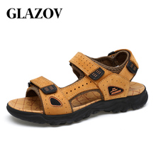 GLAZOV Hot Sale New Fashion Summer Leisure Beach Men Shoes High Quality Leather Sandals The Big Yards Men's Sandals Size 39-47