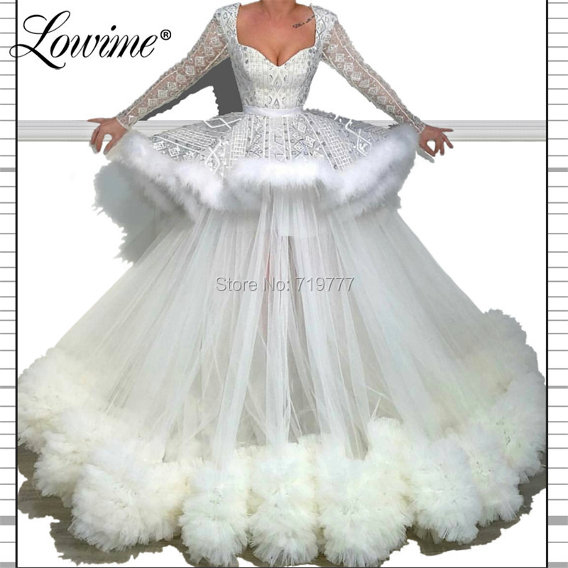 Ball Gown Puffy   Evening     Dress   Feather Prom   Dresses   Robe De Soiree Custom Made Arabic Dubai Formal   Dress   Abiye Gece Elbisesi