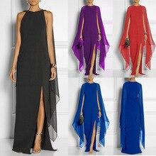 MAYUFLL WOMEN new dress bat sleeve chiffon stitching pure color tide