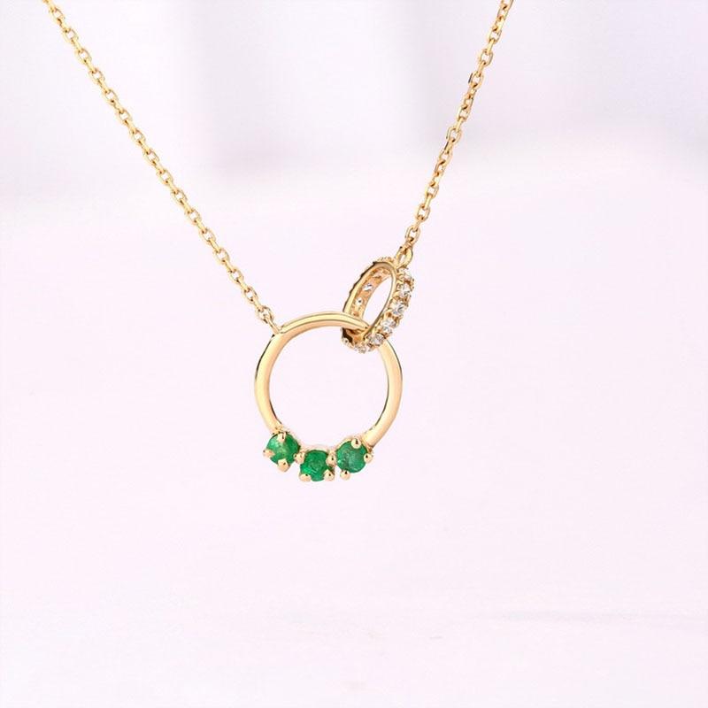 ANI 14 K or jaune pendentif collier 1.5mm naturel émeraude Fine couleur pierres précieuses bijoux mode femmes Engagement collier chaîne