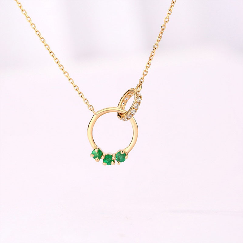ANI 14K Yellow Gold Pendant Necklace 1.5mm Natural Emerald Fine Color Gemstone Jewelry Fashion Women Engagement Necklace Chain fashion candy color faux gemstone pendant alloy necklace for women