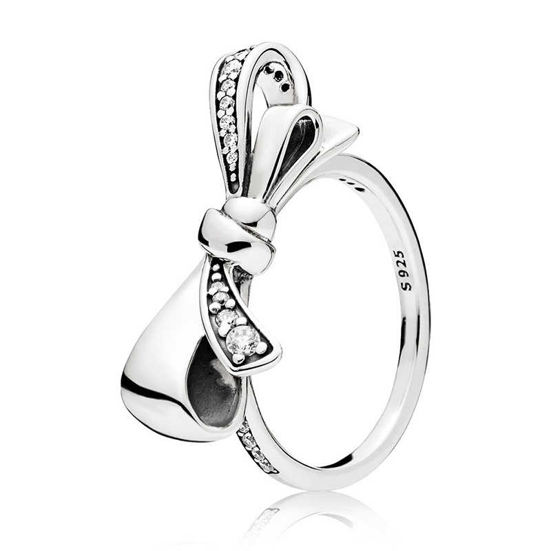 Original 925 Silver Ring Pave Logo Signature Classic Lotus Rice Ear Bow Crystal Round Open Finger Ring For Women Jewelry