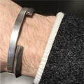 Marca brazalete de joyería de moda los hombres abrir brazaletes de las pulseras de los brazaletes de moda para hombre de joyería de acero titanium de los pares regalo para el día del padre
