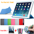 Ultra Slim Магнитный Кожа PU Case for iPad Air 2 Сплит Smart Case для iPad Air 2 Чехол Матовая Жесткий Заднюю Обложку для iPad 6 9.7''