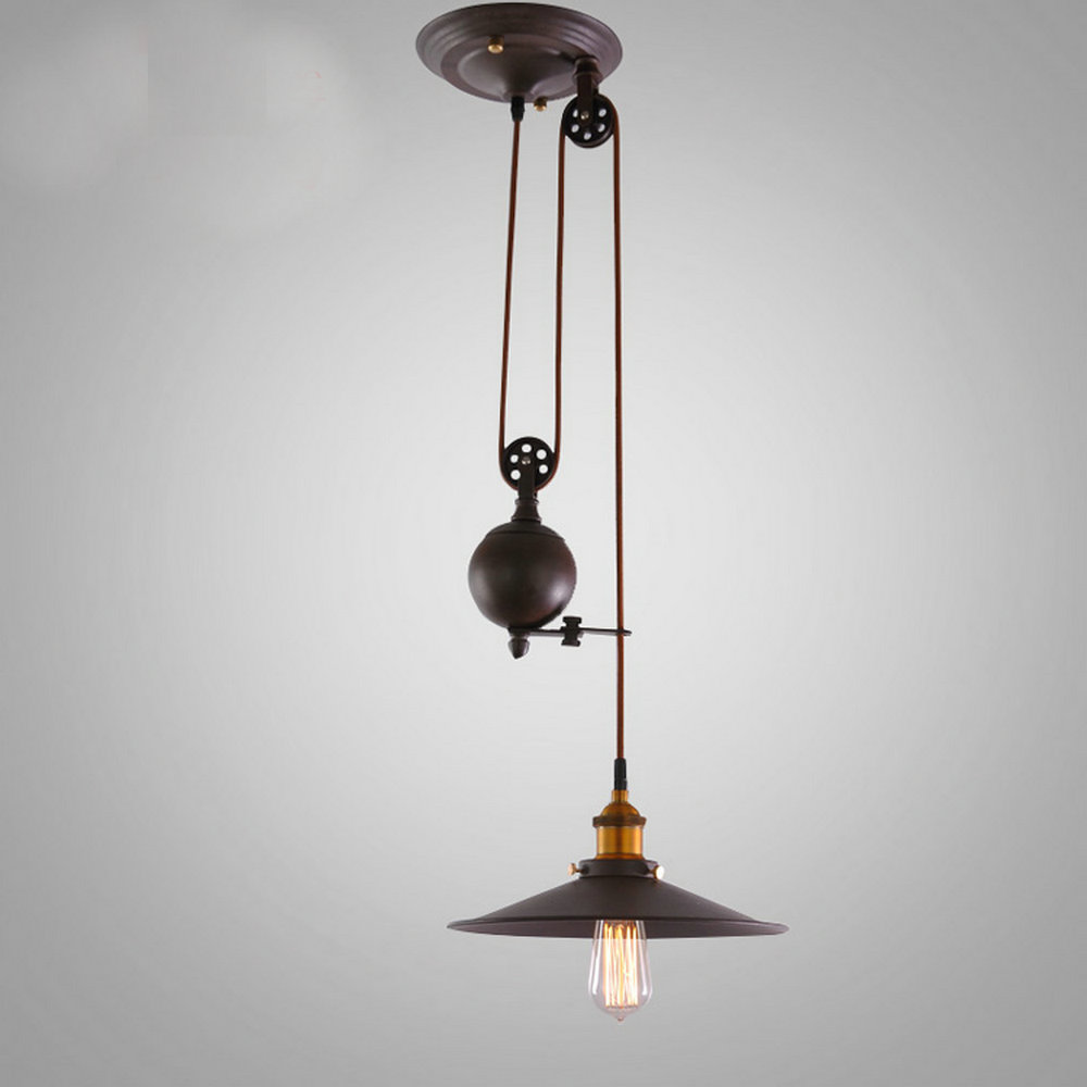 Kitchen rise fall pulley pendant lights pulley pendant light retro wrought iron light fixture industrial lamp bar led abajur in pendant lights from lights