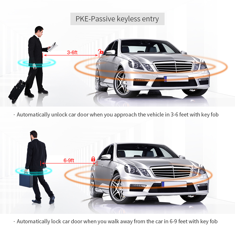 EASYGUARD PKE car alarm kit with remote engine start push button start rolling code Touch password keyless entry security alarm