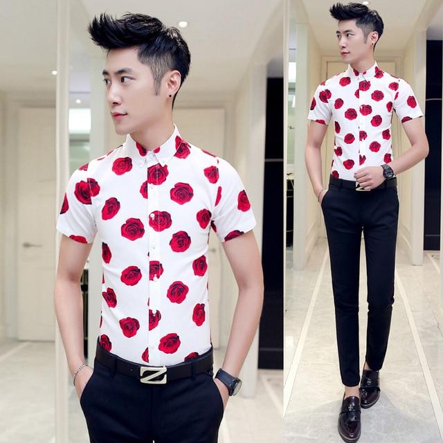 floral Style Hommes manches Outfit 2016 shirts Homme Fit Slim Robe Coréenne Chemises chemise tops À t dans Courtes Fleur Rose Camisa Imprimé coton 500Xrq