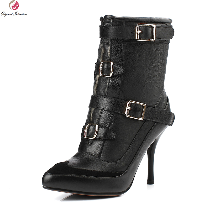 Original Intention Quality Women Ankle Boots Fur Pointed Toe Thin High Heels Boots Warm Winter Black Shoes Woman US Size 3-9.5 aloeent black ankle boots women high heels pointed toe sexy winter boots woman shoes winter women boots with fur inside