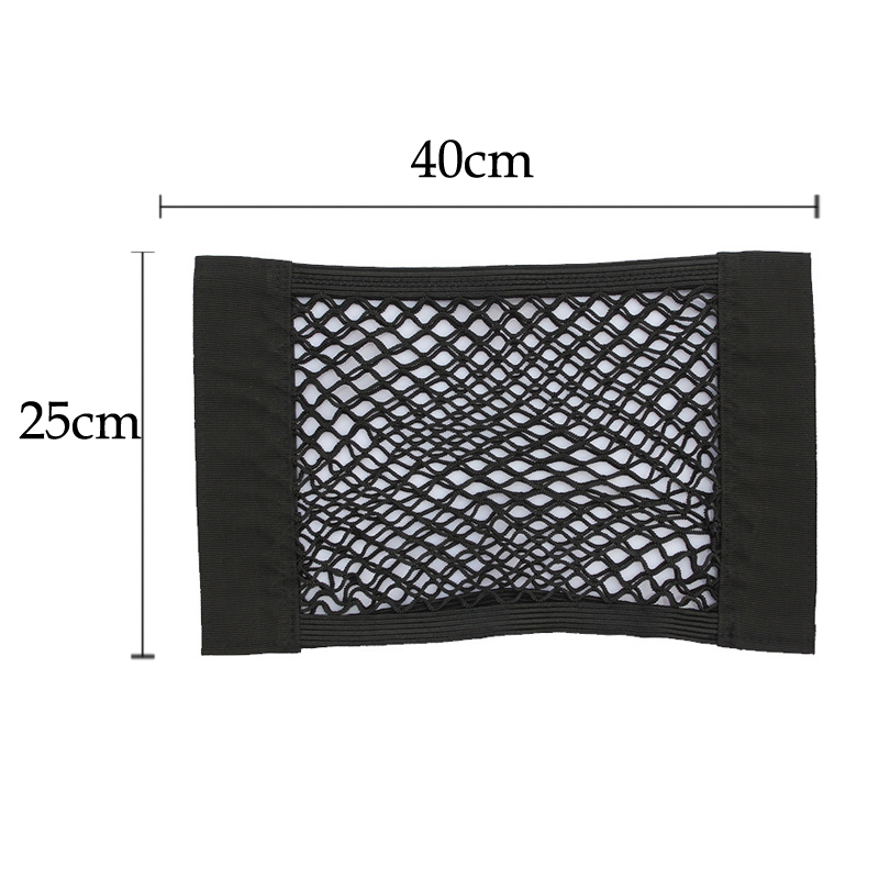 40*25cm Car Back Rear Trunk Seat Storage Bag Mesh Auto Organizer double-deck Elastic String Net Magic Sticker Pocket Bag 1
