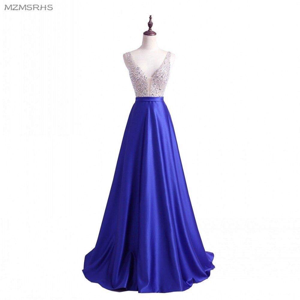 2018 vestidos de baile una línea vestidos de fiesta sexy cuello en v - Vestidos para ocasiones especiales - foto 1