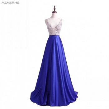 2018 Prom Dresses A Line Party Dresses Sexy V Neck Sleeveless Vestido De Festa Beading Long Evening Dress Fashion Formal Gowns