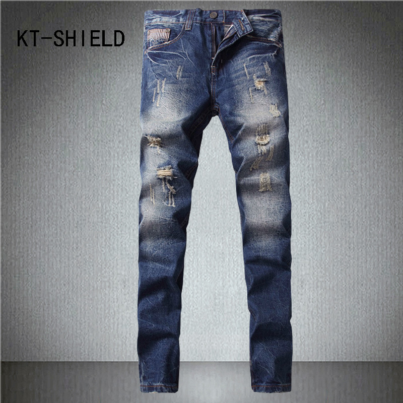 skinny jeans for mens ripped Distressed biker Denim trousers Slim fit fashion brand Casual Full length trousers vaqueros hombre fashion blue stretch jeans ripped denim trousers slim skinny new famous brand dsel patch jeans elastic mens biker jeans u701