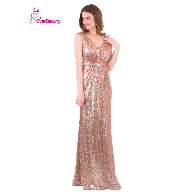 Rose gold sparkly bridesmaid dresses long sequins v neck for Long dress for wedding party