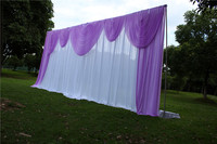 3X6M White Wedding Backdrop Curtain With Lavender Swag Pleated For Wedding Event&Party&Banquet Decoration(Lycra Chair Cover)