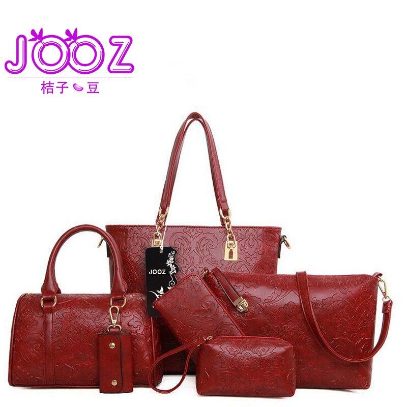 JOOZ Brand Luxury Woman Handbag Flower Printing 6 Pcs Composite Bags Set Female Shoulder Crossbody Bag Lady Purse Clutch Wallet