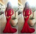 Sexy Lace Red Prom Dress com manga 2016 Sweep Trem Apliques Sereia vestido de festa à noite vestido formal