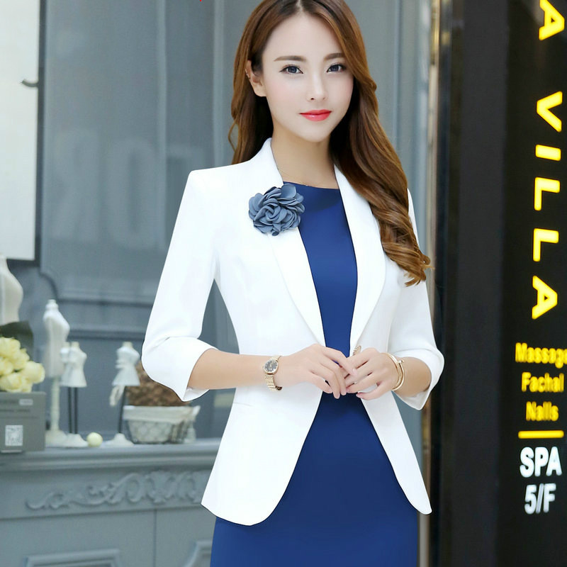 2019 Summer Autumn Casual Small Suit Jacket Women Single Button 3 Quarter Sleeve Work Dress Suit Boutonniere