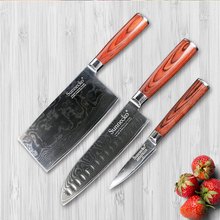 SUNNECKO 3PCS Kitchen Knives Set Japanese VG10 Damascus Steel Cleaver Santoku Fruit Paring Knife Pakka Wood Handle Meat Cutter