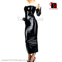 Sexy Latex gown sleeveless transparent brown and white Rubber long pencil Dress Gummi playsuit Bodycon top XXXL plus size QZ 055