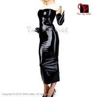 Sexy Latex suknia bez rękawów przezroczysty brązowy i biały Guma Gummi długie ołówek Sukienka playsuit Bodycon top XXXL plus size QZ-055