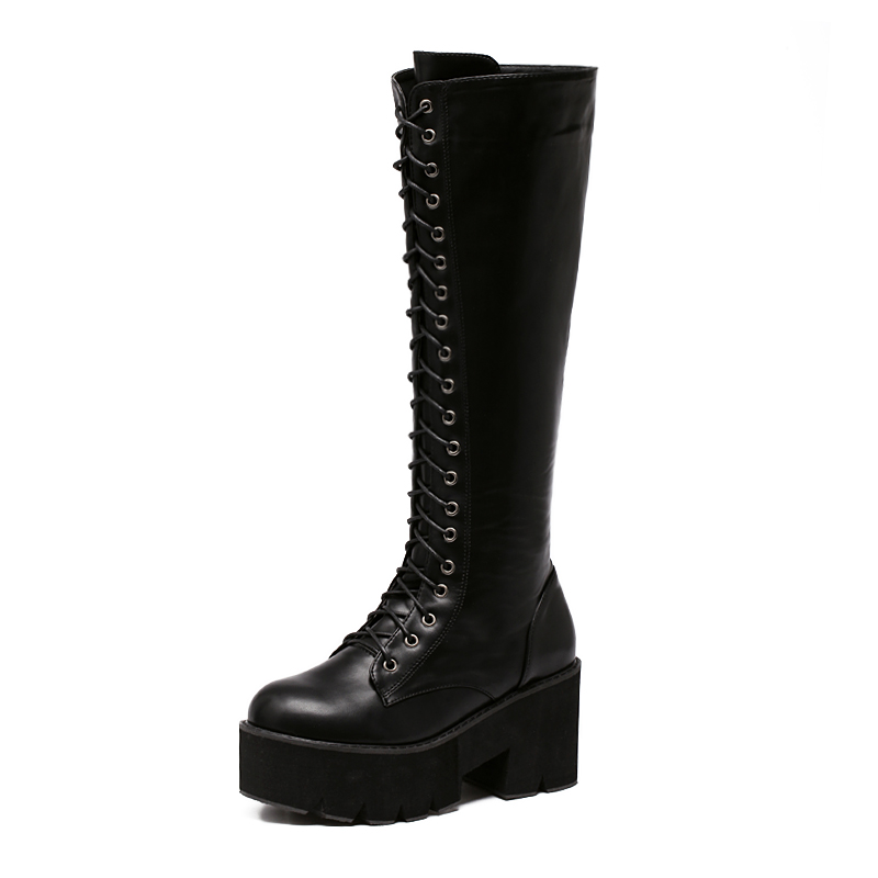 Women's Lace Up Knee High Boots Thick Bottom High Heel Platform ...