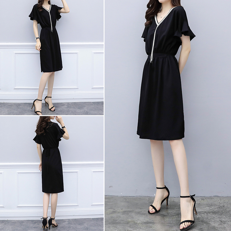 Summer fashion slim belly tummy age dress waist micro fat sister long dress womens clothing  V-Neck dresses women outfits