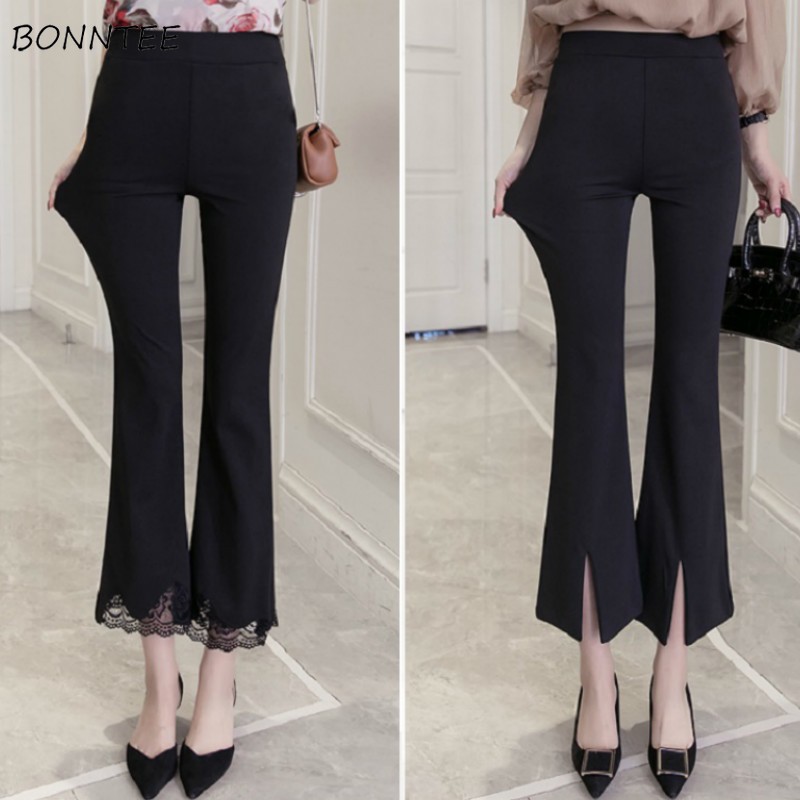 Pants Women High Waist Solid Simple Slim Korean Style All-match Leisure Ankle-Length Trousers Elastic Womens Elegant Female Chic